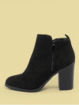 Glamorous Other Plain Side zipper Black High Heel Chunky Almond Toe Plain Stacked Heel Booties