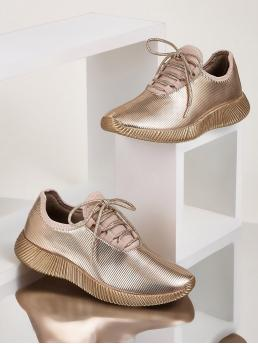 Glamorous Round Toe Plain Lace Up Gold Metallic Lace-up Front Sneakers