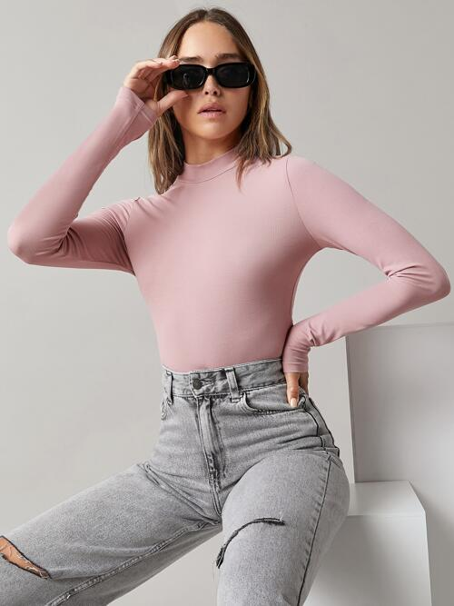 Cheap Long Sleeve Cotton Plain Dusty Pink Mock Neck Solid Crop Tee