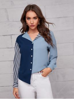 Long Sleeve Shirt Button Front Polyester Collared Striped Blouse Fashion