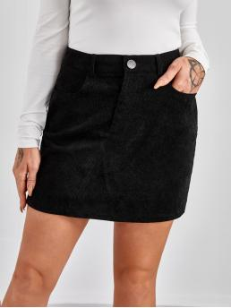 Pretty Black High Waist Button Front a Line Solid Cord Skirt