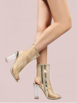 Polyester Gold Stretch Boots Embroidery Metallic Mesh Perspex Heel Boots on Sale