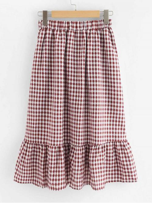 Discount Multicolor Natural Waist Ruffle Hem Asymmetrical Single Breasted Checked Skirt