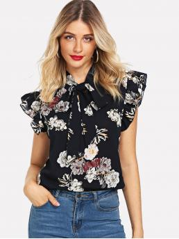 Elegant Floral Top Regular Fit Stand Collar Cap Sleeve Pullovers Navy Regular Length Tie Neck Ruffle Armhole Floral Top