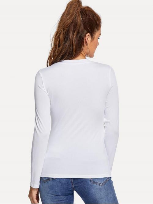 Long Sleeve Top Button Polyester Solid T-shirt Discount