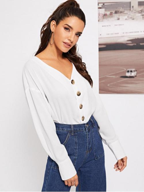 Long Sleeve Shirt Button Polyester through Solid Top Ladies