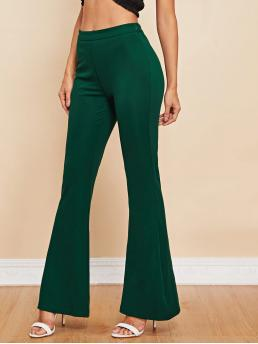 Elegant Plain Flare Leg Regular Elastic Waist Mid Waist Green Long Length Solid Flare Pants