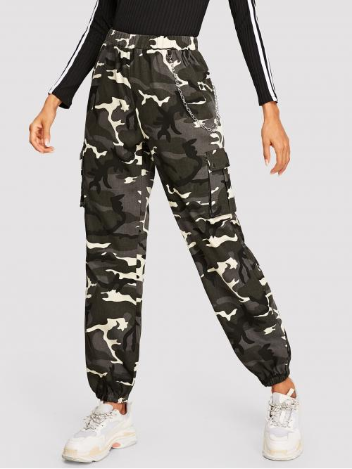 Sporty Camouflage Tapered/Carrot Regular Elastic Waist Mid Waist Multicolor Long Length Flap Pocket Side Camo Cargo Pants