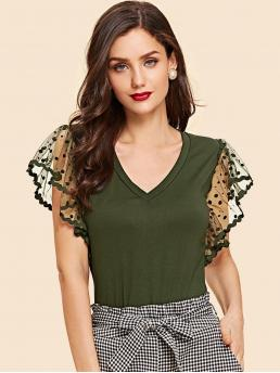Shopping Cap Sleeve Bodycon Contrast Mesh Polyester Dot Mesh Flutter Sleeve T-shirt