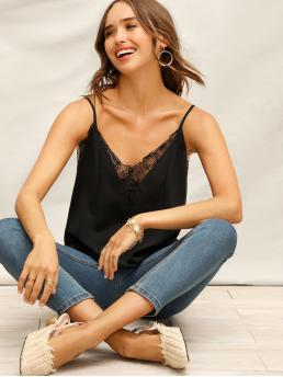 Casual Cami Plain Regular Fit Spaghetti Strap and V neck Black Regular Length Lace Insert Solid Cami Top