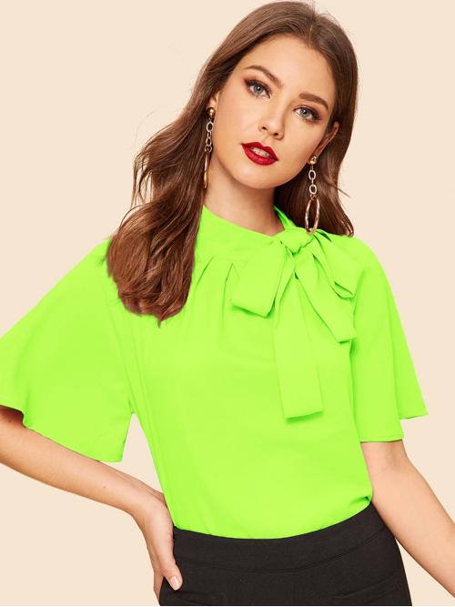 Elegant Plain Top Regular Fit Stand Collar Short Sleeve Butterfly Sleeve and Raglan Sleeve Pullovers Green and Bright Regular Length Neon Lime Tie Neck Flutter Sleeve Top