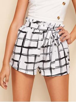 Casual Plaid Regular Elastic Waist High Waist Black and White Plaid Belted Paperbag Shorts with Belt