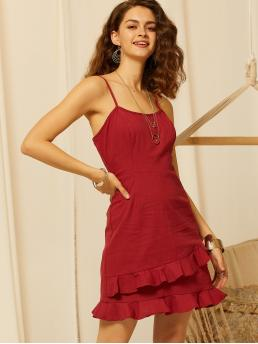 Boho Cami Plain Flounce Loose Spaghetti Strap Sleeveless Natural Burgundy Short Length SBetro Zip Back Ruffle Hem Solid Slip Dress
