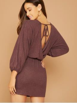 Sexy Fitted Plain Regular Fit Round Neck Long Sleeve Bishop Sleeve Natural Burgundy Short Length Open Back Balloon Sleeve Brushed Knit Dress