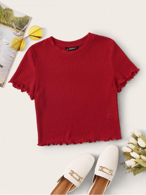 Casual Plain Slim Fit Round Neck Cap Sleeve Regular Sleeve Pullovers Red and Bright Crop Length Lettuce Edge Rib-knit Tee