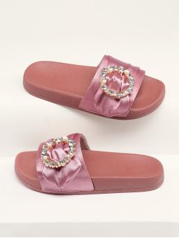 Comfort Open Toe Rust Rhinestone Buckled Satin Band Footbed Sandals