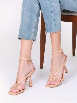 Apricot Thong Sandals Ultra High Heel Sculptural Heels Ankle Strappy Thong Kitten Heel Sandals Affordable