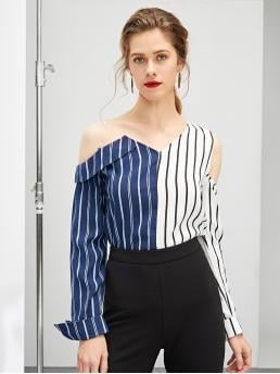 Long Sleeve Cami Cut out Polyester Two Tone Striped Top on Sale