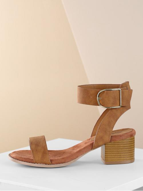 Corduroy Camel Court Pumps Feather Buckle Stacked Heel Sandals on Sale