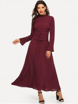 Elegant A Line Plain Regular Fit Stand Collar Long Sleeve Natural Burgundy Maxi Length Flounce Sleeve Stand Collar Corset Longline Dress with Belt