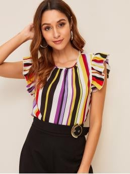 Cute Striped Top Regular Fit Round Neck Sleeveless Pullovers Multicolor Regular Length Ruffle Armhole Striped Top