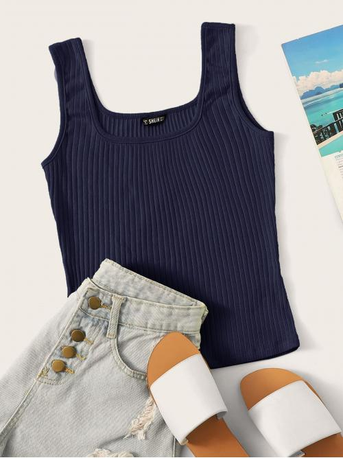 Ladies Cap Sleeve Tank Rib-knit Cotton Solid Form Fitting Top