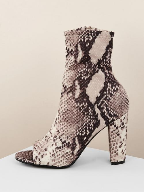 Glamorous Other Peep Toe Snakeskin Print Side zipper Multicolor High Heel Chunky Snake Print Open Toe Stretch Sock Booties