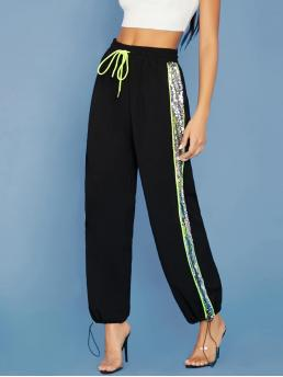 Sporty Sweatpant Regular Elastic Waist Mid Waist Black Long Length Neon Trim Contrast Sequin Stripe Jogger Pants
