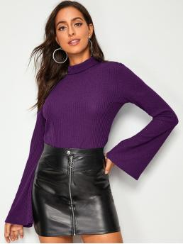 Elegant Plain Asymmetrical Regular Fit Funnel Neck and Stand Collar Extra-Long Sleeve Flounce Sleeve Pullovers Purple Regular Length Rolled Neck Bell Sleeve Tee
