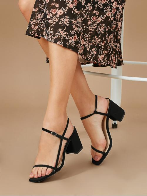 Business Casual Open Toe Plain Nude High Heel Chunky Square Toe Buckled Ankle Strappy Block Heels
