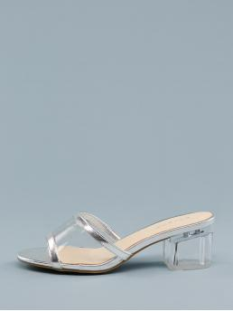 Business Casual Peep Toe Plain Silver Mid Heel Chunky Metallic Open Toe PVC Band Lucite Heel Sandals