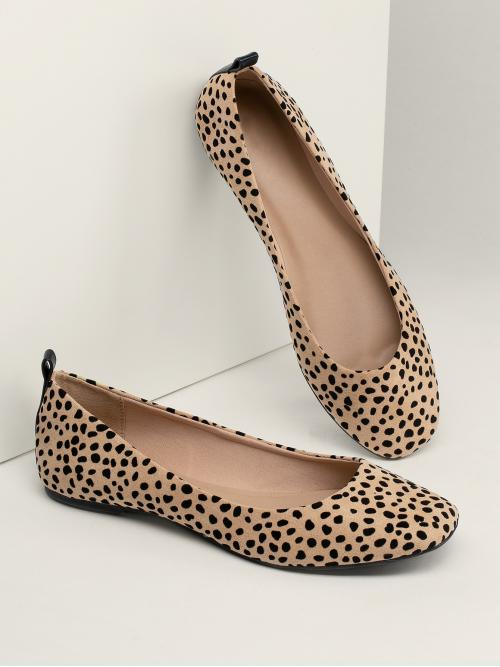 Comfort Square Toe Leopard Brown Leopard Spotted Slip On Ballerina Flats