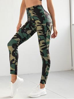 Fashion Multicolor Regular Camo Cropped High-rise Crop Leggings