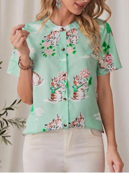 Short Sleeve Shirt Button Polyester Cat & Front Blouse Discount