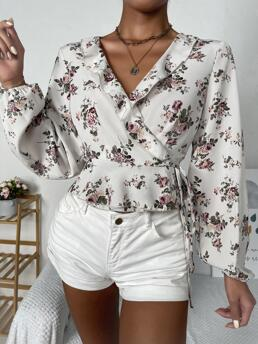 Fashion Long Sleeve Top Tie Front Polyester Trim Belted Top