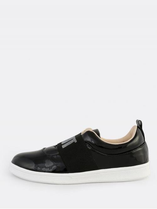 Womens Polyester Black Running Shoes Cut out Patent Whyt Sneakers