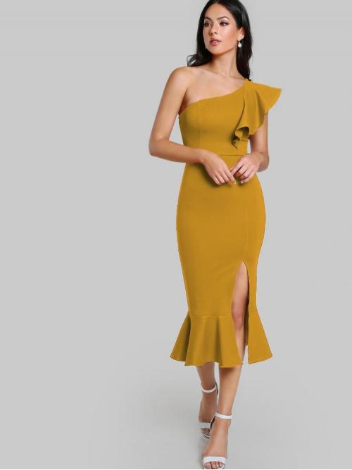 Womens Yellow Plain Split One Shoulder Flounce Slit Fishtail Dress