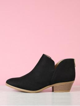 Business Casual Other Almond Toe Black Low Heel Chunky Stacked Block Heel Split Shaft Ankle Boots
