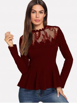 Elegant Slim Fit Round Neck Long Sleeve Pullovers Burgundy Regular Length Scallop Lace Mesh Yoke Peplum Top