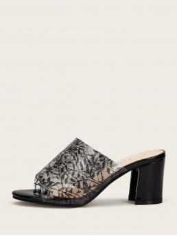 Business Casual Black Mid Heel Open Toe Floral Detail Chunky Heeled Mules