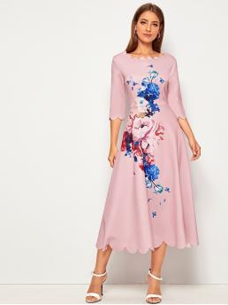 Elegant A Line Floral Flared Regular Fit Round Neck Three Quarter Length Sleeve Regular Sleeve High Waist Pink and Pastel Long Length Scallop Trim Floral Print Fit and Flare Dress
