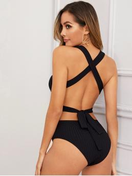Sexy Tank Plain Skinny Skinny Scoop Neck Sleeveless Mid Waist Black Crisscross Backless Rib-knit Bodysuit