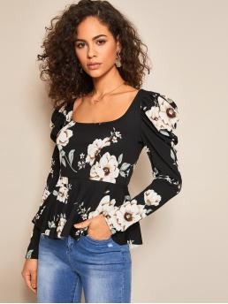 Casual Floral Flared Peplum Regular Fit Square Neck Long Sleeve Pullovers Multicolor Regular Length Floral Print Puff Sleeve Peplum Top