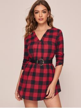 Preppy Tunic Gingham Straight Loose Notched Long Sleeve Roll Up Sleeve Natural Red Short Length Roll Tab Sleeve Buffalo Plaid Dress Without Belt