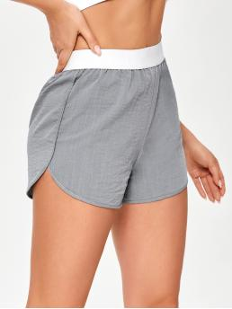 Grey High Waist Track Shorts Colorblock Contrast Dolphin Shorts Affordable