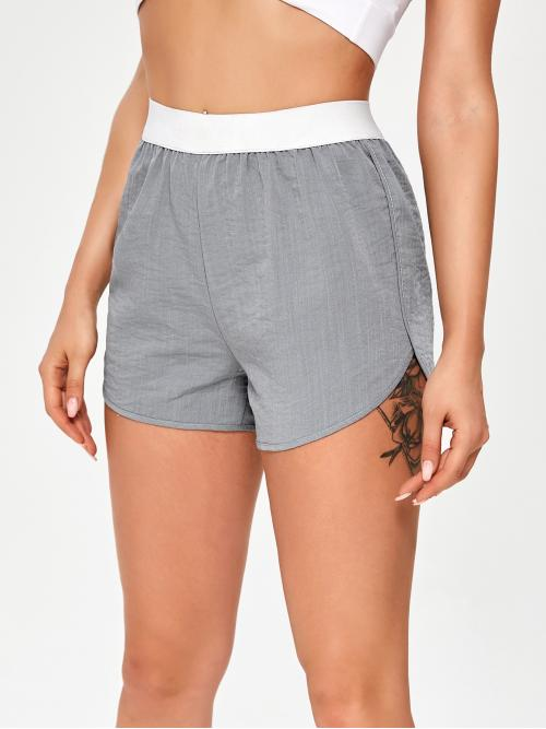 Clearance Grey High Waist Track Shorts Colorblock Contrast Dolphin Shorts