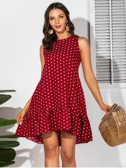 Burgundy Polka Dot High Low Round Neck Ruffle Hem Dress on Sale