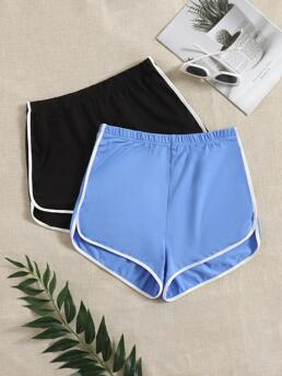 Multicolor High Waist Contrast Binding Track Shorts 2 Pack Dolphin Shorts Shopping