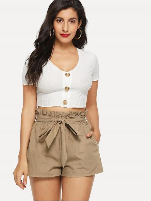 Khaki High Waist Paper Bag Waist Wide Leg Ruffle Waist Self Belt Shorts Pretty