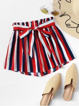 Casual Striped Regular Elastic Waist Mid Waist Multicolor Frill Trim Striped Shorts with Belt